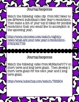 New Year's Student Reflection- Video Journal Prompts & Infographics