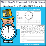 New Year's Themed Number Color and Trace