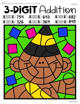 New Year's Three Digit Addition Color by Number with and without regrouping
