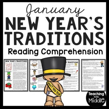 New Year's Traditions Reading Comprehension Worksheet, January, Resolutions