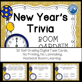 New Year's  Trivia Boom Cards--Digital Task Cards