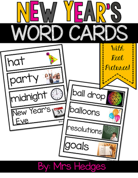 New Year's Vocabulary Word Cards by Mrs Hedges | TpT