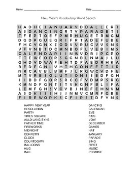 New Year's Word Search and Vocabulary Quiz