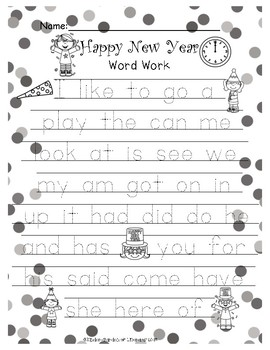 New Year's Word Work