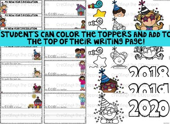 New Year's Writing Activities and Toppers-In English and Spanish