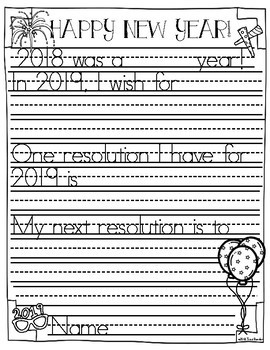 New Year's Writing Frames Freebie {2 Levels}