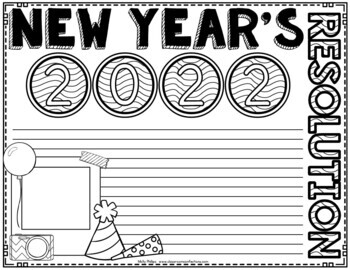 new years resolution coloring pages | New Year's Resolution 2018: Writing Activity by Elementary ...