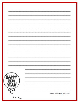 Writing Paper Templates - New Year's Theme