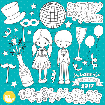New Year's party stamps commercial use, vector graphics, images  - DS1051