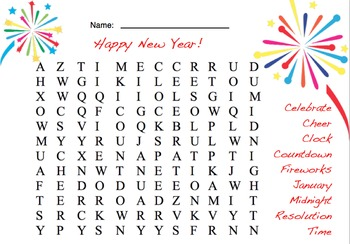 New Year's word searches