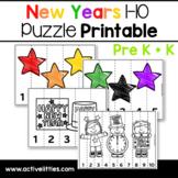 New Years 1-10 Puzzle Preschool Printable