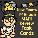 New Years 1st Grade Math Review Task Cards on BOOM