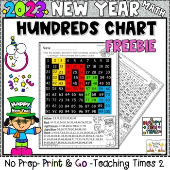 Hundreds Chart Mystery Picture 41: New Years 2018 Hundreds Chart Hidden Picture Freebie by Teaching ,Chart
