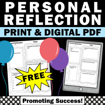 FREE Download Student Reflection Sheet New Years Day or End of the Year