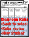 Classroom Rules Review - Find Someone-Who Back to School
