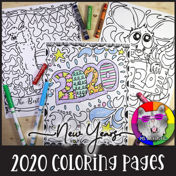 2020 Coloring Pages New Years Zen Doodles By Ms Artastic Tpt