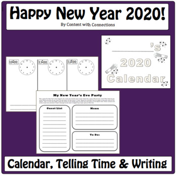 New Years 2018 Math Activities: Calendar Skills & Telling Time