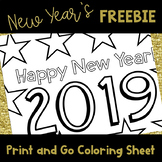 New Years 2018 Coloring Sheet