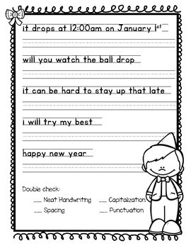 New Years 2019 Sentence Writing Activity (3 in 1)