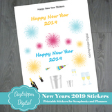 New Years 2019 Printable Stickers for Planners and Scrapbooks