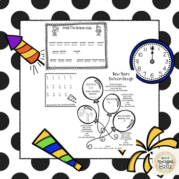 New Years 3rd and 4th Grade Math Review Division and 3 Digit Addition