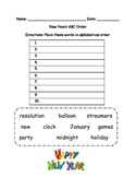 New Years ABC order for word work and spelling practice