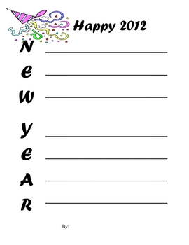 New Year's Acrostic Form