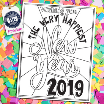 New Years Activities 2019 | Coloring Page FREEBIE