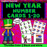 New Years Activities: Counting Cards - Numbers 1-20 - Number Sense - Ten Frames