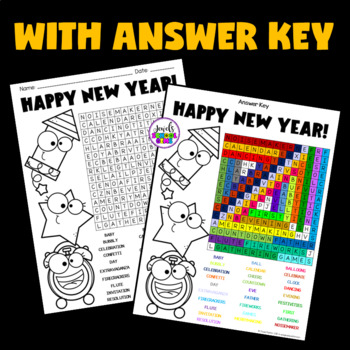 New Year's 2018 Activities (New Year's Word Search)