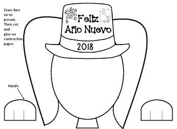 New Years Activities Craft Spanish Actividades del Ano Nuevo