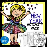 New Years Activities Pack with puzzles, coloring in and more