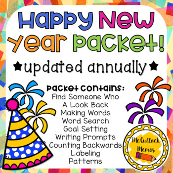 New Years Activity Packet- Updated Annually