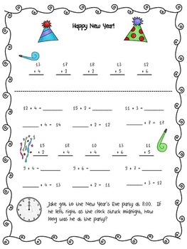 New Year's Activity pages - first and second grade