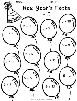 New Years Addition Fact Practice