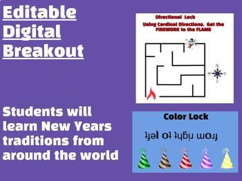 New Years Around the World Editable Digital Breakout