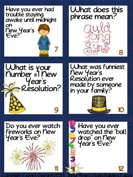 New Year's Class-Building Cards with Resolutions