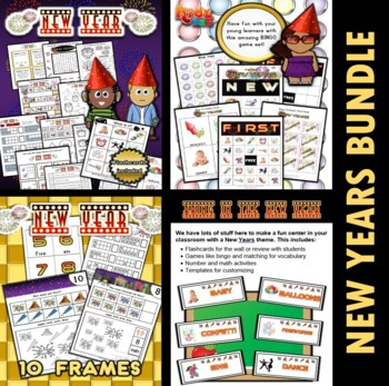 New Years Classroom Center Bundle
