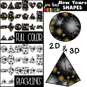 New Years Clip Art -New Years Fireworks 2D & 3D Shapes