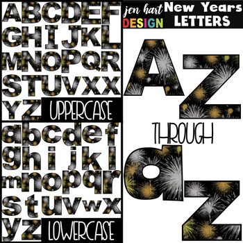 New Years Clip Art - New Years Fireworks Letters