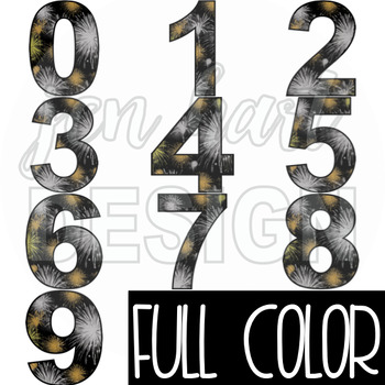 New Years Clip Art - New Years Fireworks Numbers