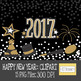 2017 Happy New Year! Clipart, new years clip art: Gold version
