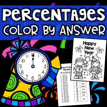 New Years Color By Answer Math Percentage Activity