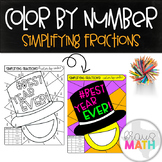 New Years Color by Number Activity: BEST YEAR EVER! (Simplifying Fractions)