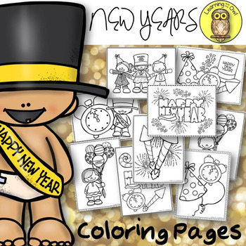 New Years Coloring Pages Freebie By Learning With The Owl Tpt