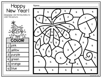 new years resolution coloring pages | New Years 2020 Activities for Math and Writing, Color by ...
