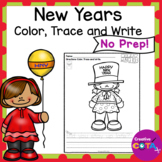 New Years Coloring  with Trace and Write Sentences