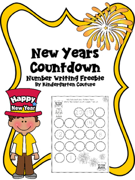 New Years Countdown -Number Writing Freebie