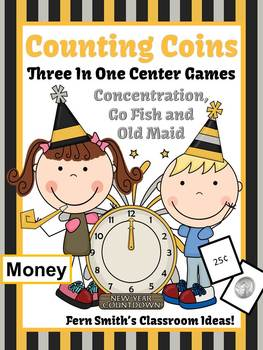 New Years Money Coins Only Center Games for Go Fish Old Maid Concentration