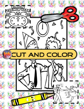 New Years Cut and Color mini flashcard set